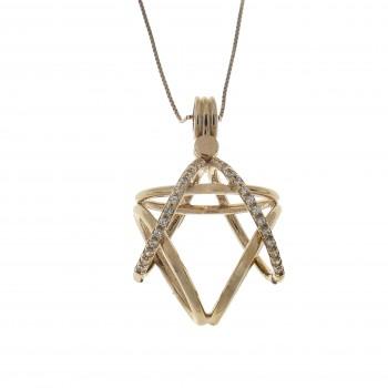 Gold pendant - Magen David, 14K red gold with zirconia