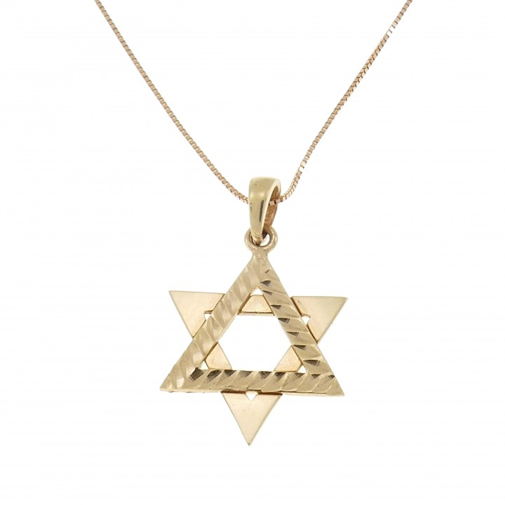 Pendant - Star of David with chain, 14K red gold, length 50 cm