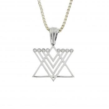 Золотой кулон - звезда Давида и менора, белое золото 14 карат с бриллиантами