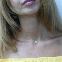 תליון - מגן דוד, זהב צהוב 14 קראט עם יהלומים