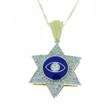תליון - מגן דוד, זהב לבן וצהוב עם יהלומים