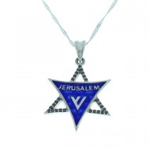 Gold pendant - star of David, white gold with diamonds