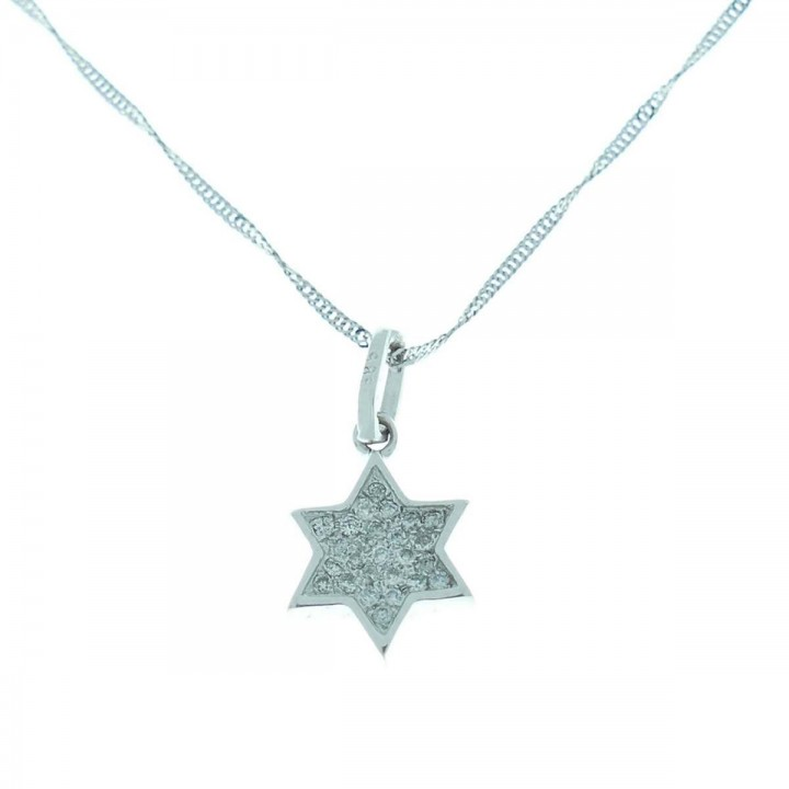 Pendant - Star of David, 14K white gold with diamonds