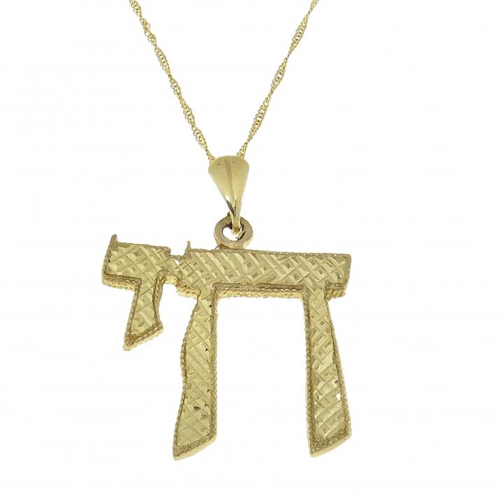 Золотой кулон - ה, желтое золото, длина 3.5 см