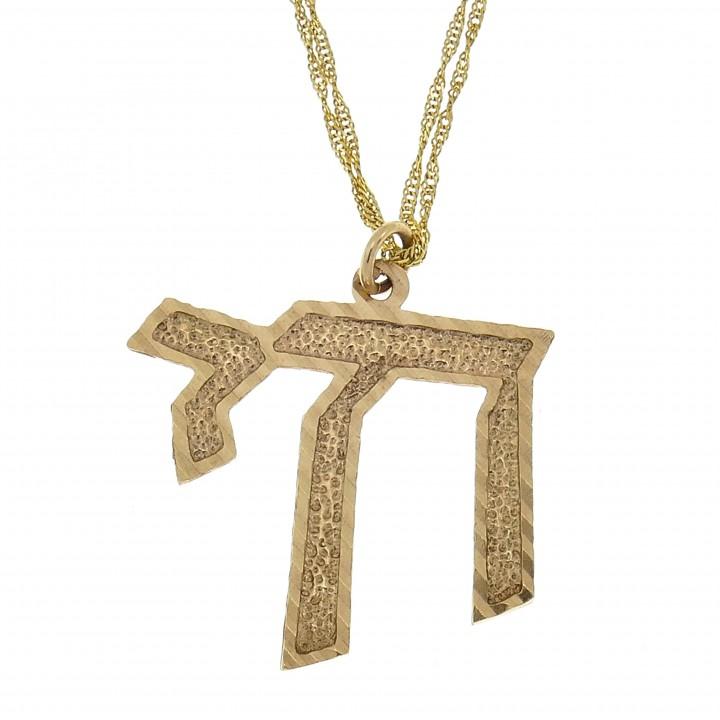 Золотой кулон - ה, желтое золото, длина 3 см