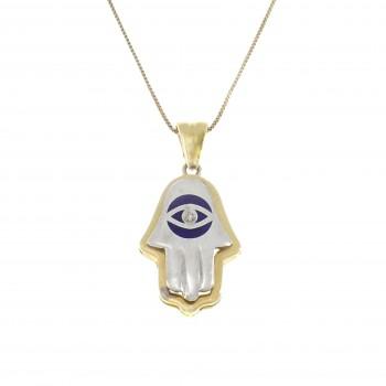 Gold pendant - Hamsa, 14K white and yellow gold with diamonds