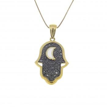 Gold pendant - Hamsa, 14K yellow gold with diamonds