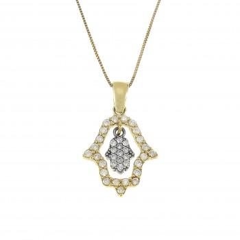 Gold pendant - Hamsa, yellow gold with diamonds