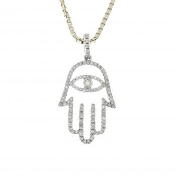 Gold pendant - Hamsa, 14K white gold with diamonds