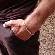 Bracelet for men, yellow and white gold, length 18 cm