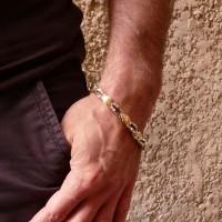 Браслет для мужчины, белое и желтое золото, длина 22,5 см