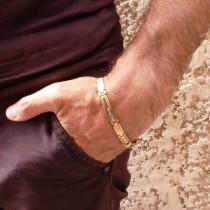 Браслет для мужчины, желтое золото 14к,  длина 20.5 см