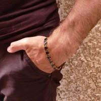 Браслет для мужчины, желтое золото и керамика, длина 20 см