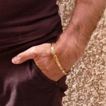 Браслет для мужчины, желтое золото, длина 21,5 см