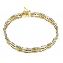 Bracelet for men, yellow and white gold, length 19 cm