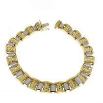 Bracelet for men, yellow and white gold, length 21.5 cm