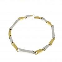 Браслет для мужчины, жёлтое и белое золото, длина 21.5 см