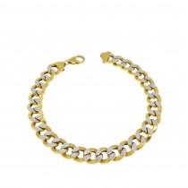 Bracelet for men, yellow and white gold, length 21 cm