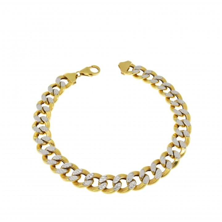 Браслет для мужчины, жёлтое и белое золото, длина 21 см