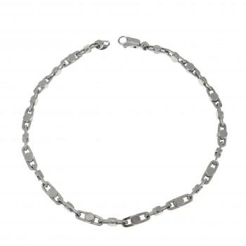 Men's bracelet, 14K white gold, length 21 cm