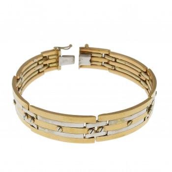 Men's bracelet, red and white gold, 14K, length 21 cm