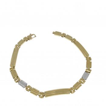 Men's bracelet, 14K yellow and white gold, length 20.5 cm