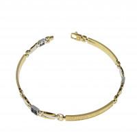 Мужской браслет, желтое и белое золото, оникс, длина 21 см
