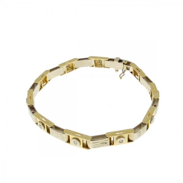 Браслет для мужчины, желтое и белое золото,  длина 18 см