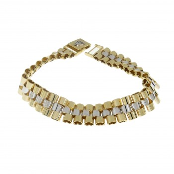 Bracelet for a man, 14K yellow and white gold, length 21.5 cm