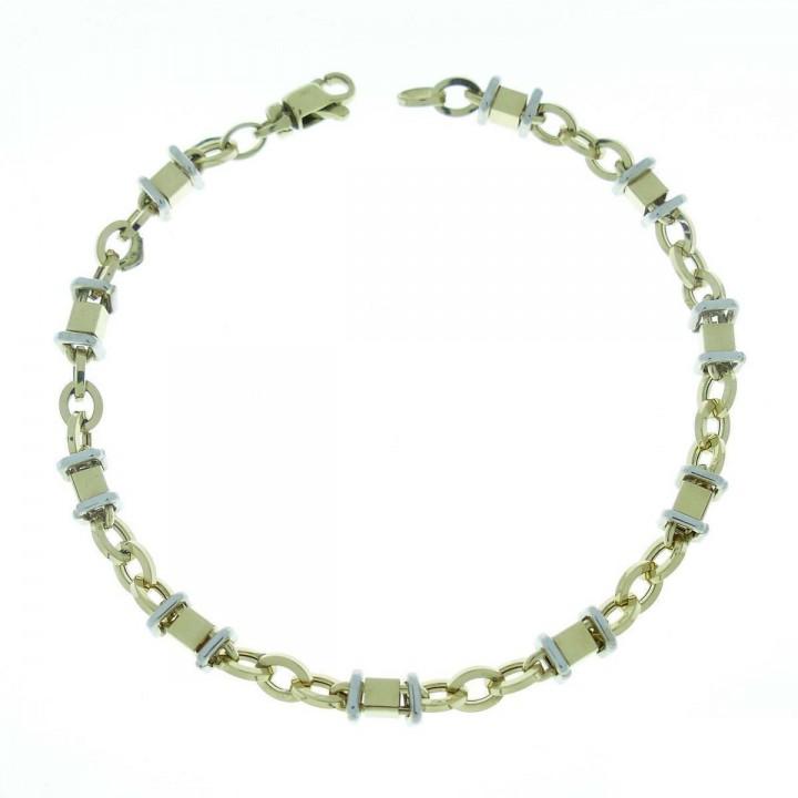 Bracelet for men, white and yellow gold, length 21.5 cm