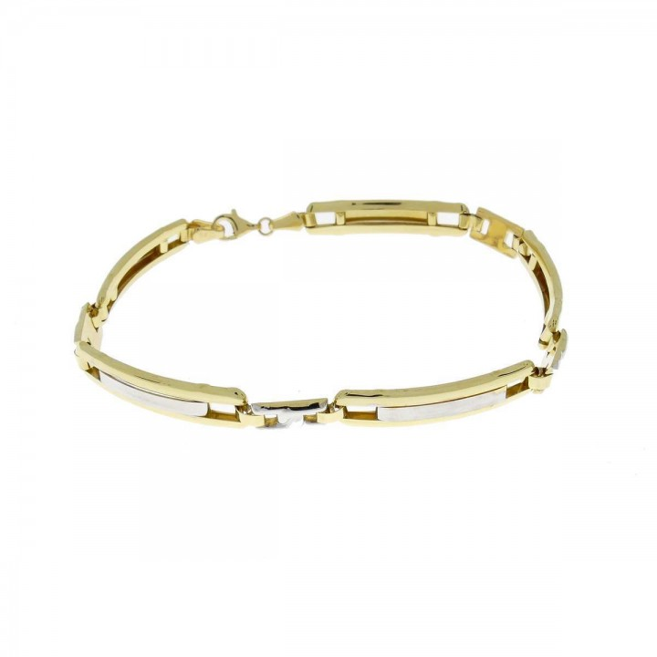 Браслет для мужчины, желтое и белое золото 14к,  длина 22 см