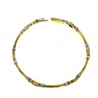 Золотой браслет, желтое и белое золото, длина 18.5 см