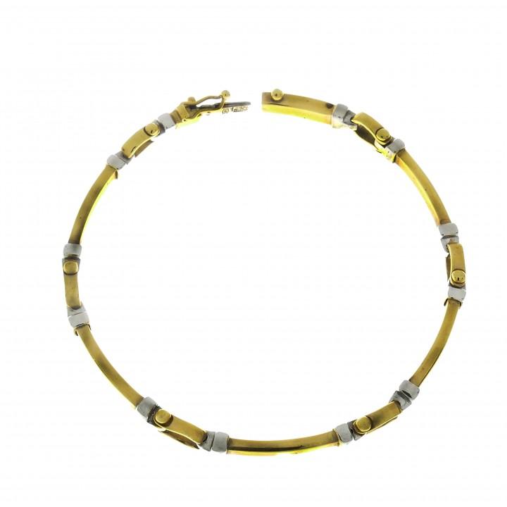 Мужской браслет, желтое и белое золото, длина 18.5 см
