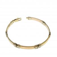 Мужской браслет, желтое и красное золото 14 карат, длина 19 см