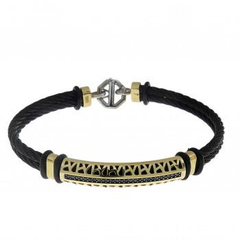 Men's bracelet, 14K yellow gold, diameter 6.5 cm