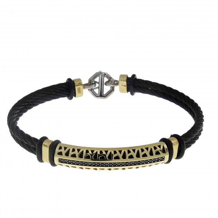 Мужской браслет, желтое золото 14 карат,  диаметр 6.5 см