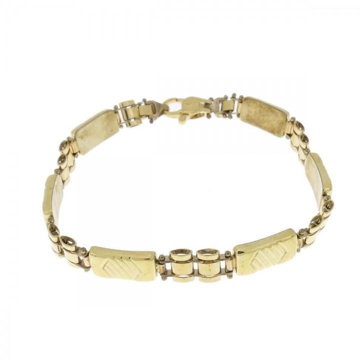 Браслет для мужчины, желтое золото 14 k,  длина 21 см