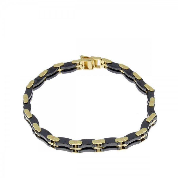 Bracelet for men, yellow gold and ceramic, length 20 cm