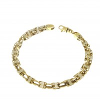 Браслет для мужчины, желтое золото 14 карат, длина 22.5 см