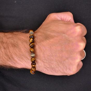 Men's bracelet, 14K yellow gold, diameter 8 cm