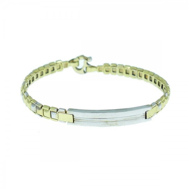 Bracelet for a man, 14K white and yellow gold, diameter 6 cm