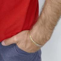 Браслет для мужчины, белое и желтое золото 14 карат, диаметр 6 см