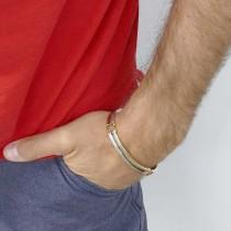 Bracelet for a man, 14K white and yellow gold, diameter 6.5 cm