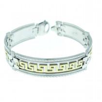 Bracelet for men, white and yellow gold, length 21 cm