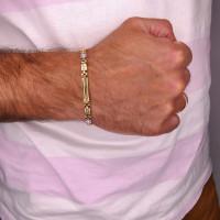 Золотой браслет, желтое и белое золото 14 карат, длина 20.5 см