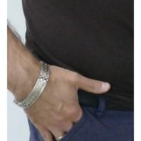 Браслет для мужчины, белое и желтое золото, длина 21 см