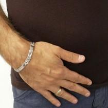 Bracelet for a man, white gold, length 21.5 cm