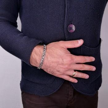 Bracelet for a man, 14K white gold, length 20.5 cm