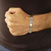 Bracelet for a man, white gold, length 21 cm