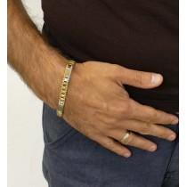 Браслет для мужчины, белое и желтое золото, длина 22 см